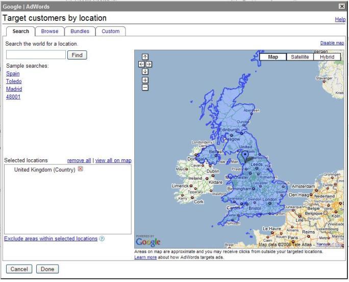 Screen shot set up geo targeting on Google