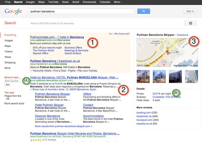 Example of hotel sitelink: pullman hotel barcelona