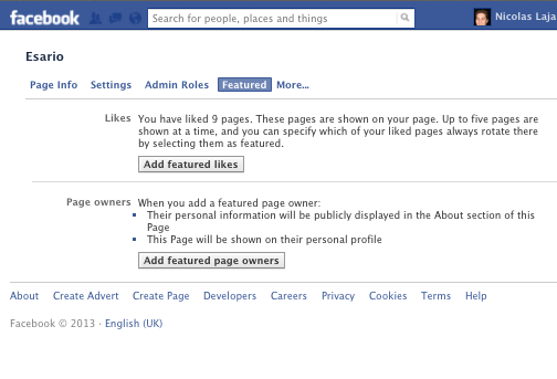 Screen shot Facebook page Featured Likes Settings
