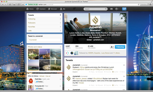 Jumeirah Hotels Twitter page on pc