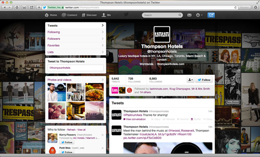 Thompson Hotels Twitter page on pc
