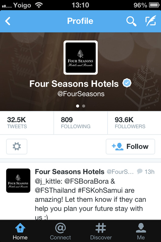 Four Seasons Hotels Twitter page on mobile