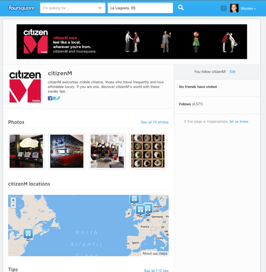 CitizenM foursquare page on pc