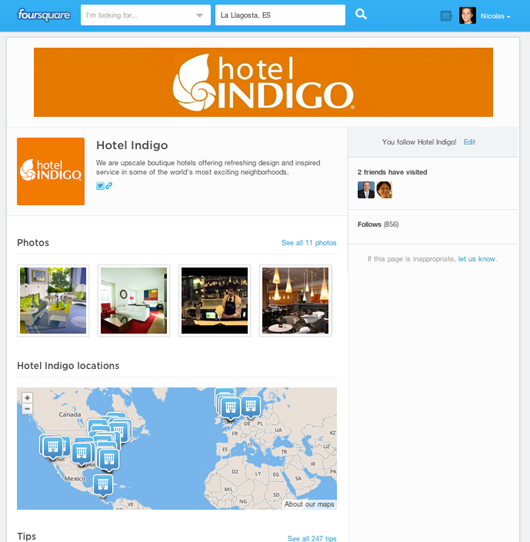 Hotel Indigo foursquare page on pc